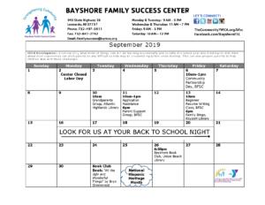 Bayshore Family Success Center September Calendar